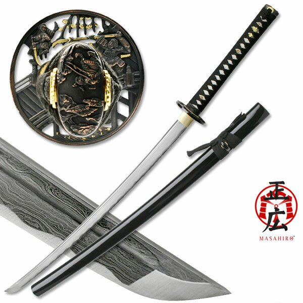 Miecz Katana Ten Ryu Damascus Sword Samurai Battle Tsuba