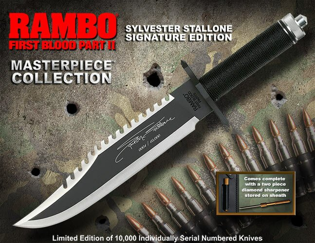Nóż Rambo II Sylvester Stallone Signature Edition Hollywood Collectibles Group