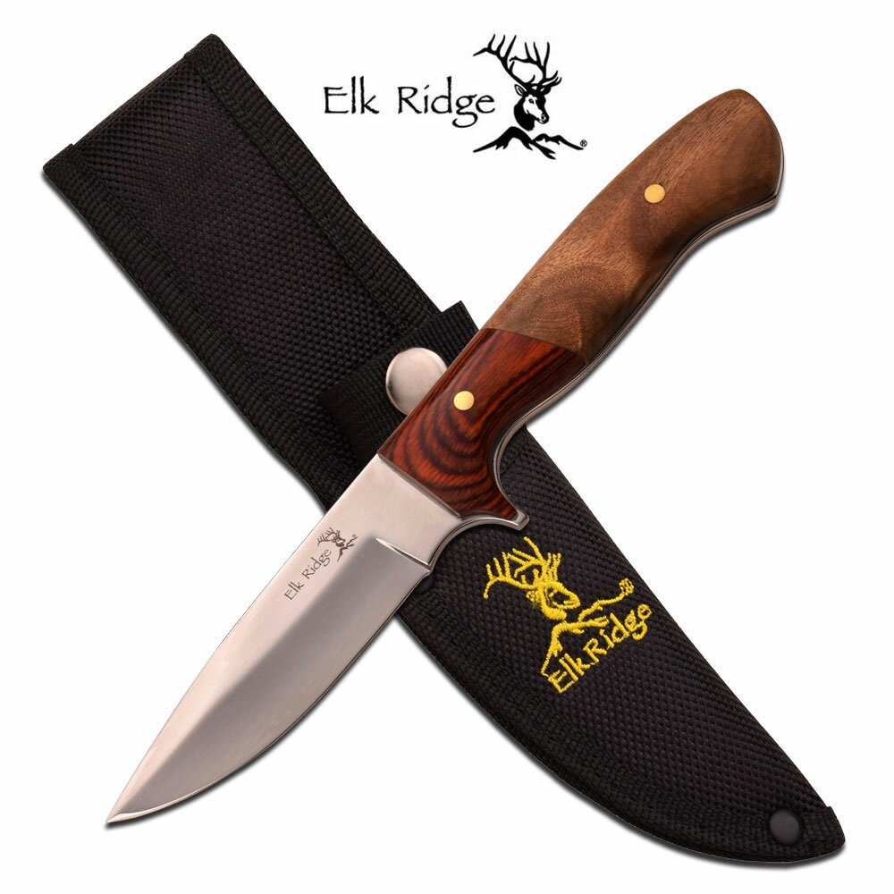 Nóż Elk Ridge Fixed Blade Pakkawood Burl Polished Blade