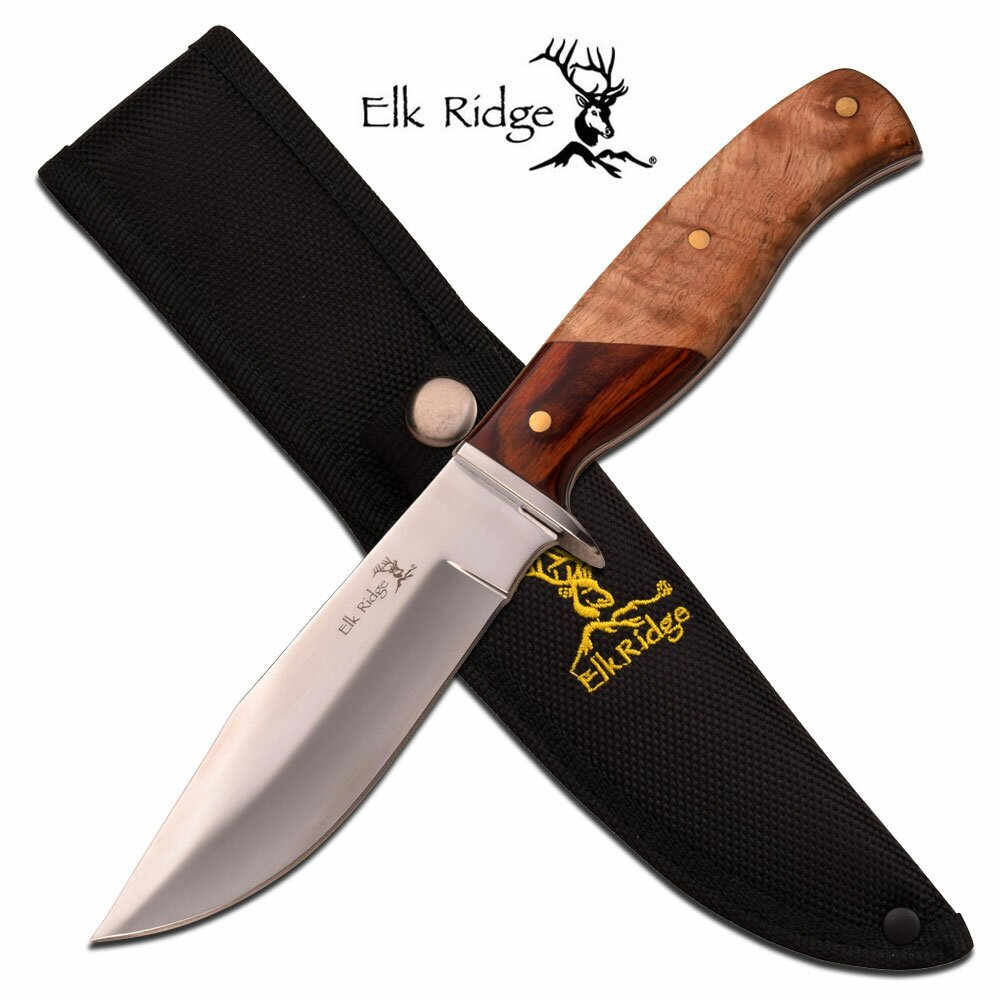 Nóż Elk Ridge Pakkawood Burl Fixed Blade