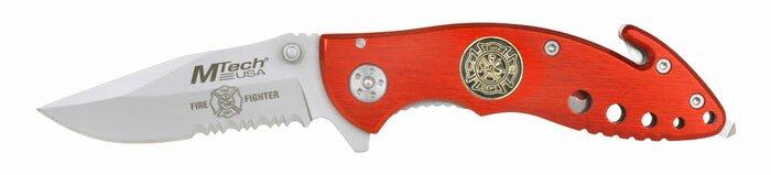 Nóż składany M-Tech Fire Fighter Rescue Knife Red