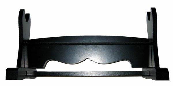 Poziomy stojak drewniany czarny na jeden miecz